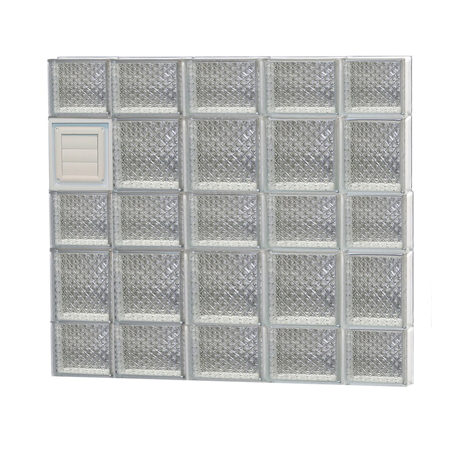 REDI2SET Diamond Glass Pattern Frameless Replacement Glass Block Window (Rough Opening: 36-in x 34-in; Actual: 34.75-in x 32.75-in)