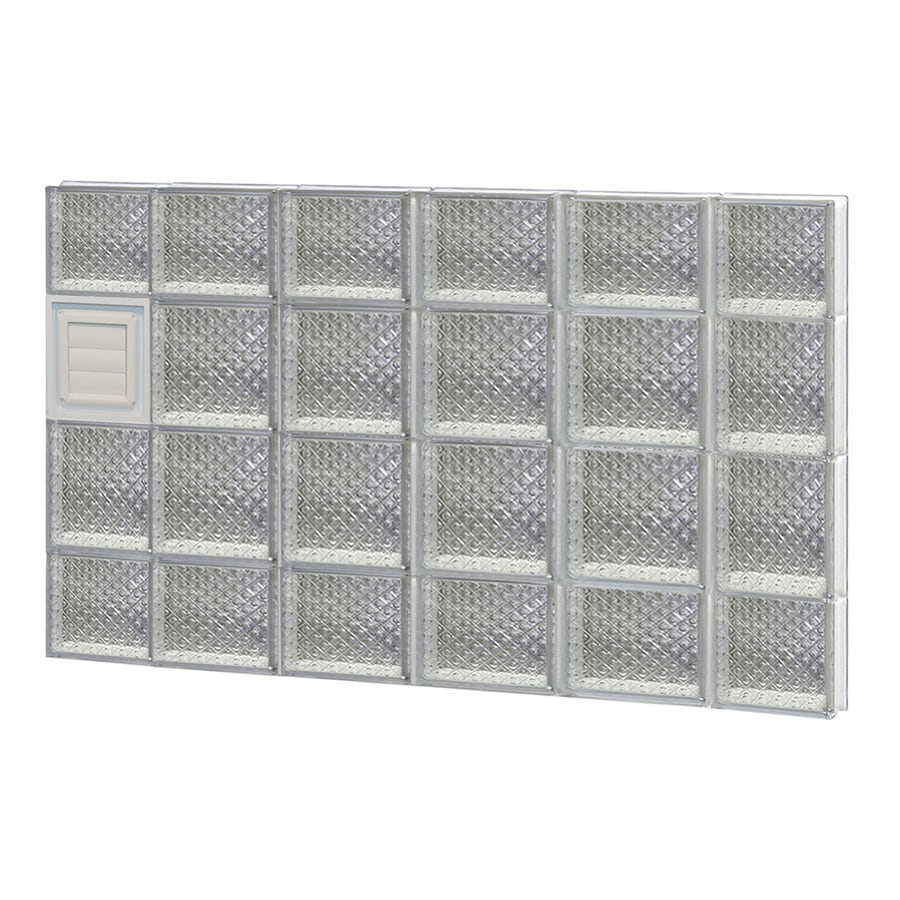 REDI2SET Diamond Glass Pattern Frameless Replacement Glass Block Window (Rough Opening: 44-in x 28-in; Actual: 42.5-in x 27-in)
