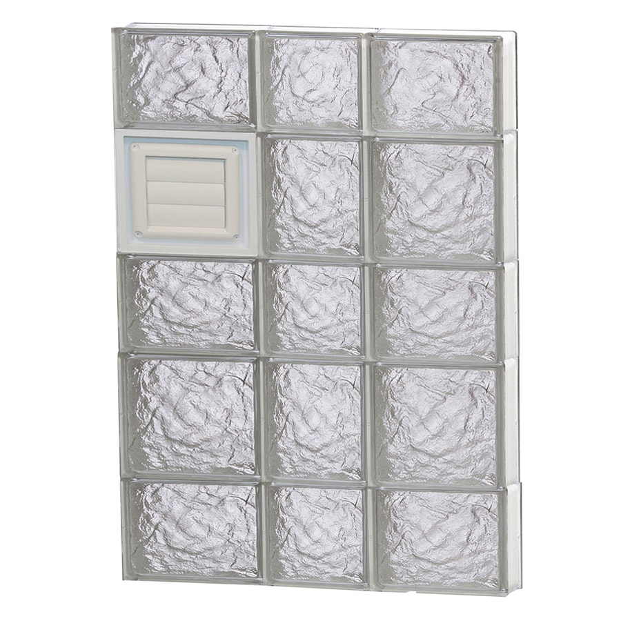REDI2SET Ice Glass Pattern Frameless Replacement Glass Block Window (Rough Opening: 22-in x 34-in; Actual: 21.25-in x 32.75-in)