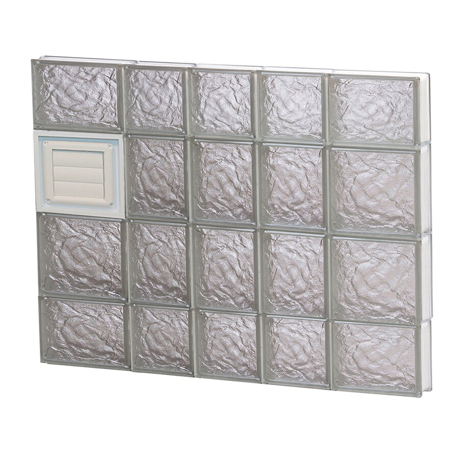 REDI2SET Ice Glass Pattern Frameless Replacement Glass Block Window (Rough Opening: 34-in x 28-in; Actual: 32.75-in x 27-in)