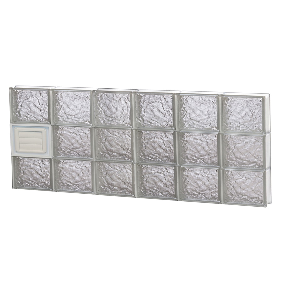 REDI2SET Ice Glass Pattern Frameless Replacement Glass Block Window (Rough Opening: 48-in x 18-in; Actual: 46.5-in x 17.25-in)