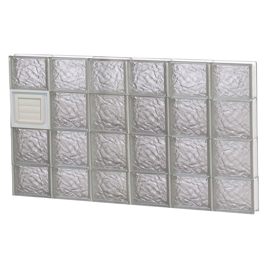 REDI2SET Ice Glass Pattern Frameless Replacement Glass Block Window (Rough Opening: 48-in x 28-in; Actual: 46.5-in x 27-in)
