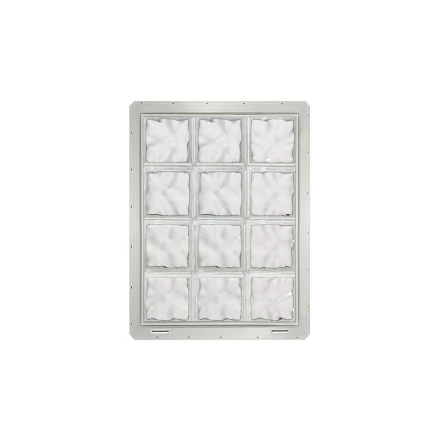 CrystaLok Wavy Pattern Vinyl Glass Block Window (Rough Opening: 25.5-in x 33.25-in; Actual: 24.25-in x 31.75-in)