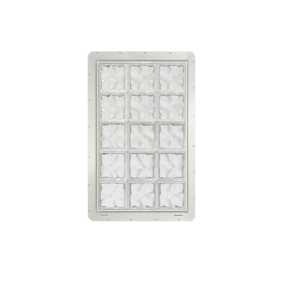 CrystaLok Wavy Pattern Vinyl Glass Block Window (Rough Opening: 25.5-in x 41-in; Actual: 24.25-in x 39.25-in)