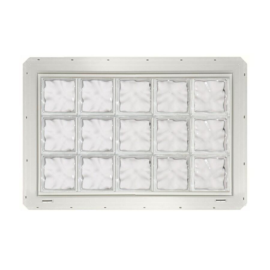 CrystaLok Wavy Pattern Vinyl Glass Block Window (Rough Opening: 41-in x 25.5-in; Actual: 39.25-in x 24.25-in)