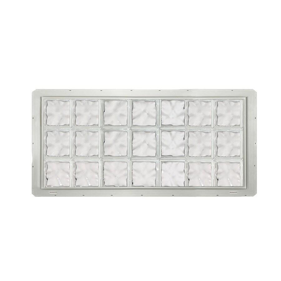 CrystaLok Wavy Pattern Vinyl Glass Block Window (Rough Opening: 56.5-in x 25.5-in; Actual: 54.25-in x 24.25-in)