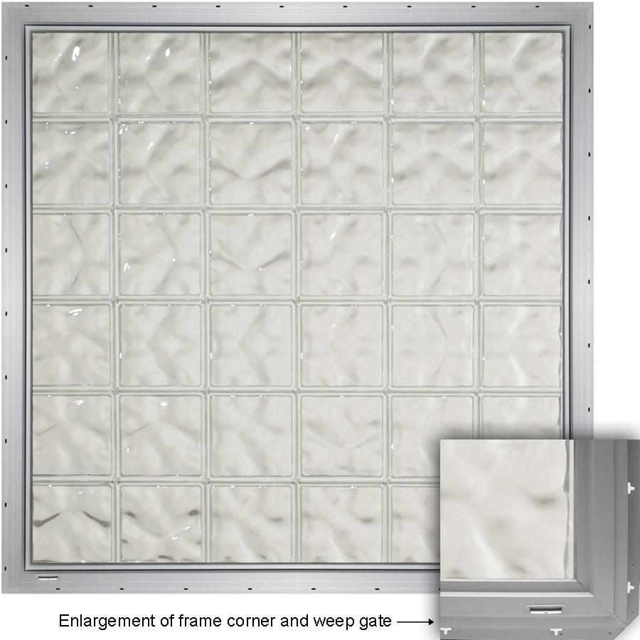 CrystaLok Wavy Pattern Vinyl Glass Block Window (Rough Opening: 79.75-in x 33.25-in; Actual: 76.75-in x 31.75-in)