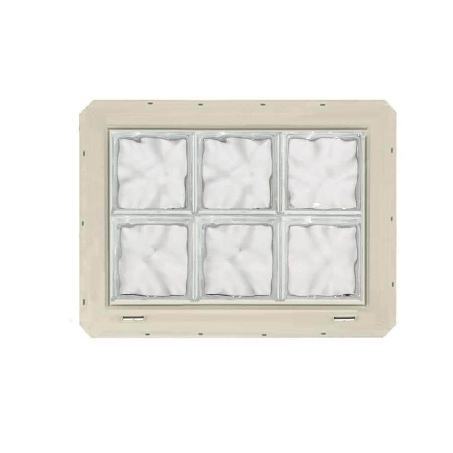 CrystaLok Wavy Pattern Vinyl Glass Block Window (Rough Opening: 25.5-in x 17.75-in; Actual: 24.25-in x 16.75-in)