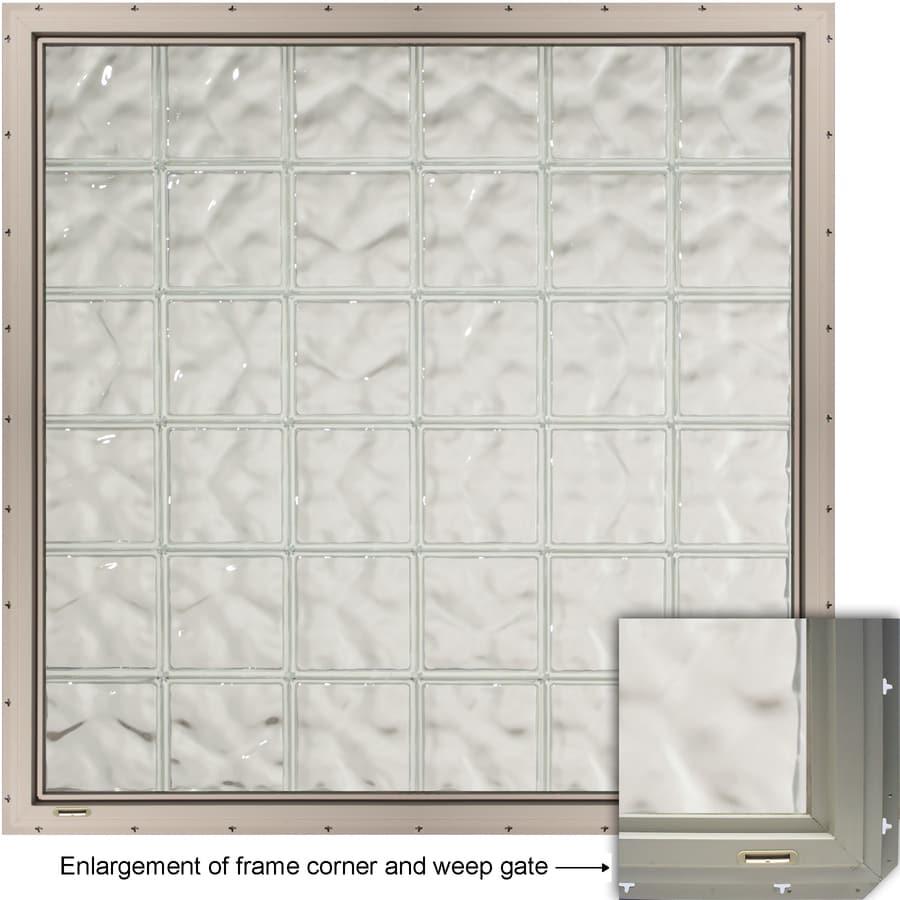 CrystaLok Wavy Pattern Vinyl Glass Block Window (Rough Opening: 48.75-in x 56.5-in; Actual: 46.75-in x 54.25-in)