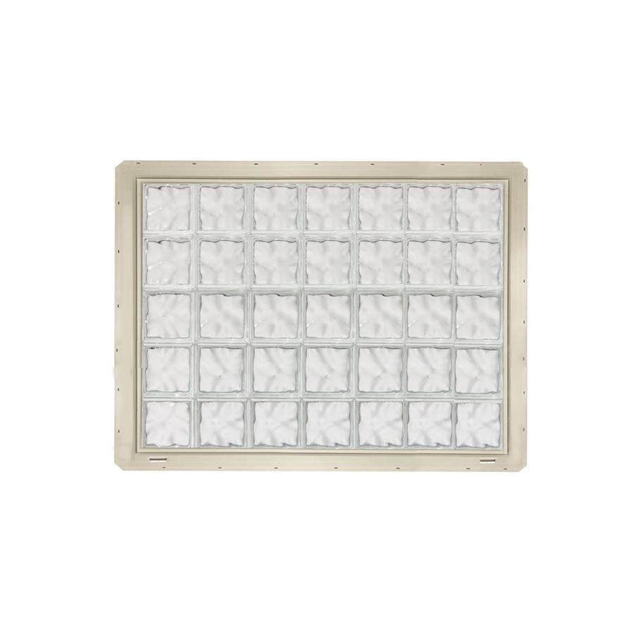 CrystaLok Wavy Pattern Vinyl Glass Block Window (Rough Opening: 56.5-in x 41-in; Actual: 54.25-in x 39.25-in)