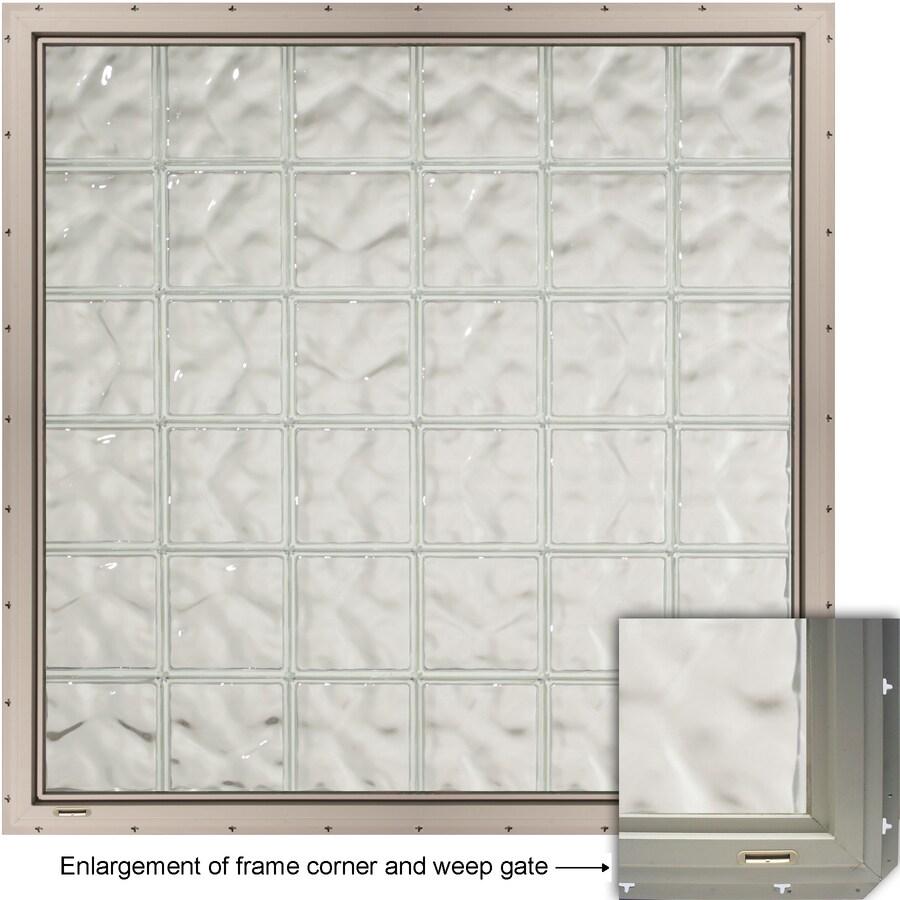 CrystaLok Wavy Pattern Vinyl Glass Block Window (Rough Opening: 56.5-in x 48.75-in; Actual: 54.25-in x 46.75-in)