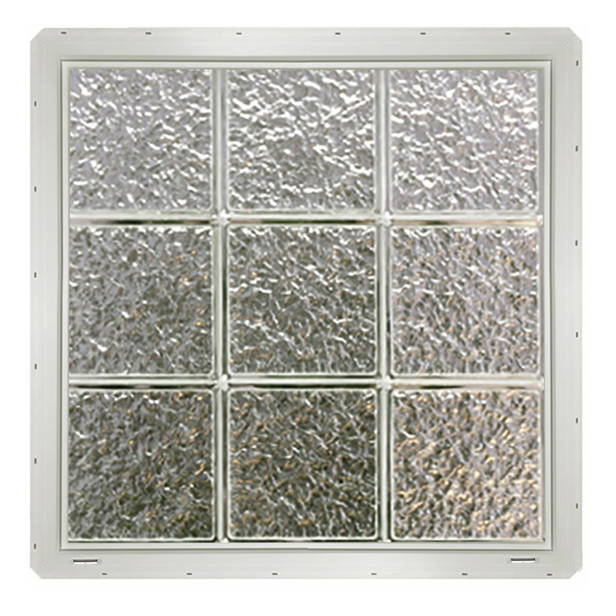 CrystaLok Ice Pattern Vinyl Glass Block Window (Rough Opening: 25.5-in x 25.5-in; Actual: 24.25-in x 24.25-in)