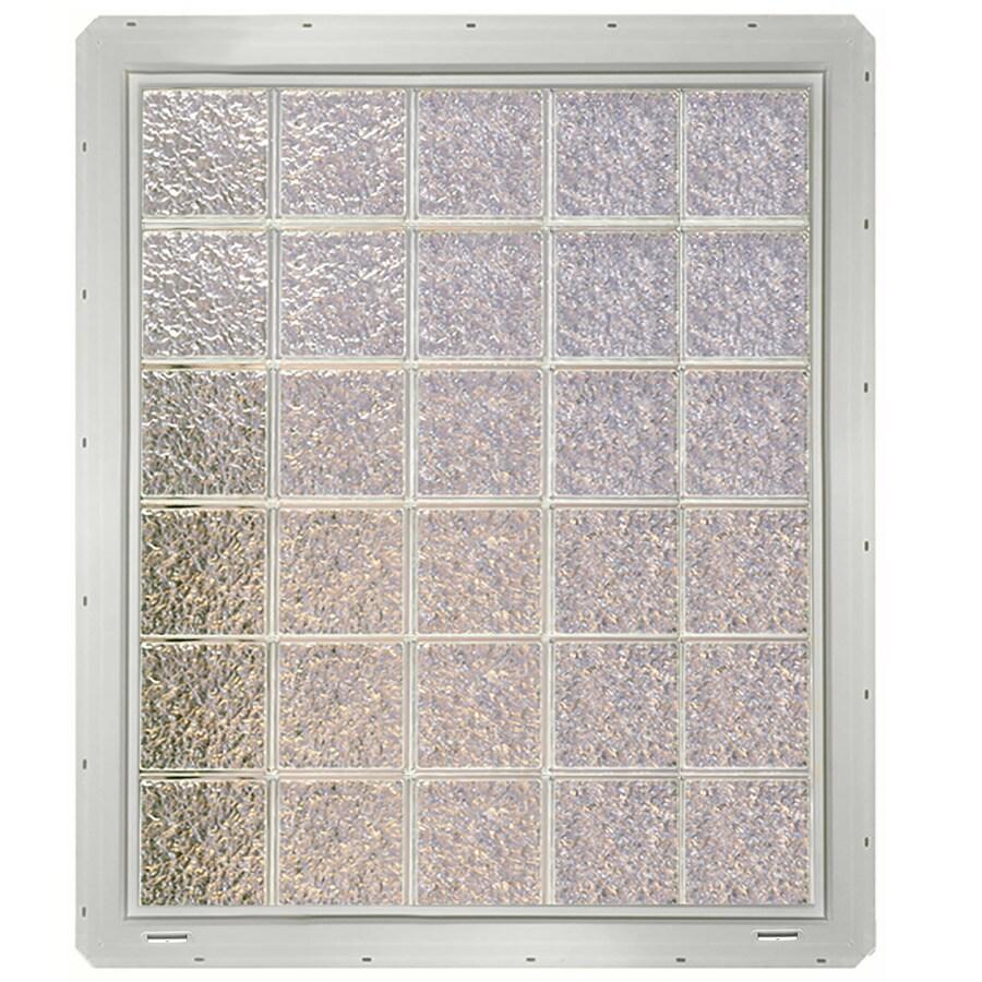 CrystaLok Ice Pattern Vinyl Glass Block Window (Rough Opening: 41-in x 48.75-in; Actual: 39.25-in x 46.75-in)