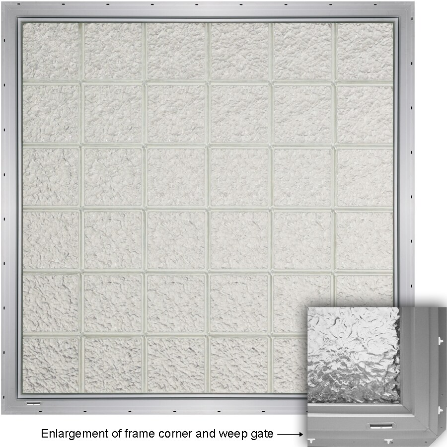 CrystaLok Ice Pattern Vinyl Glass Block Window (Rough Opening: 48.75-in x 56.5-in; Actual: 46.75-in x 54.25-in)