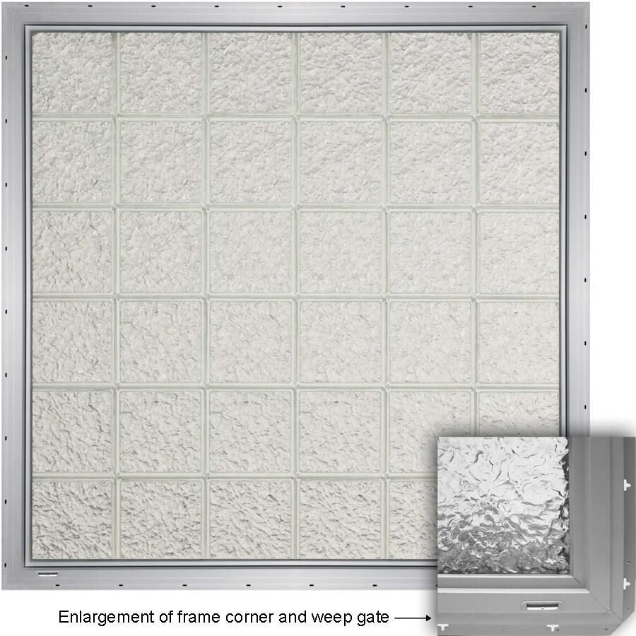 CrystaLok Ice Pattern Vinyl Glass Block Window (Rough Opening: 48.75-in x 64.25-in; Actual: 46.75-in x 61.75-in)