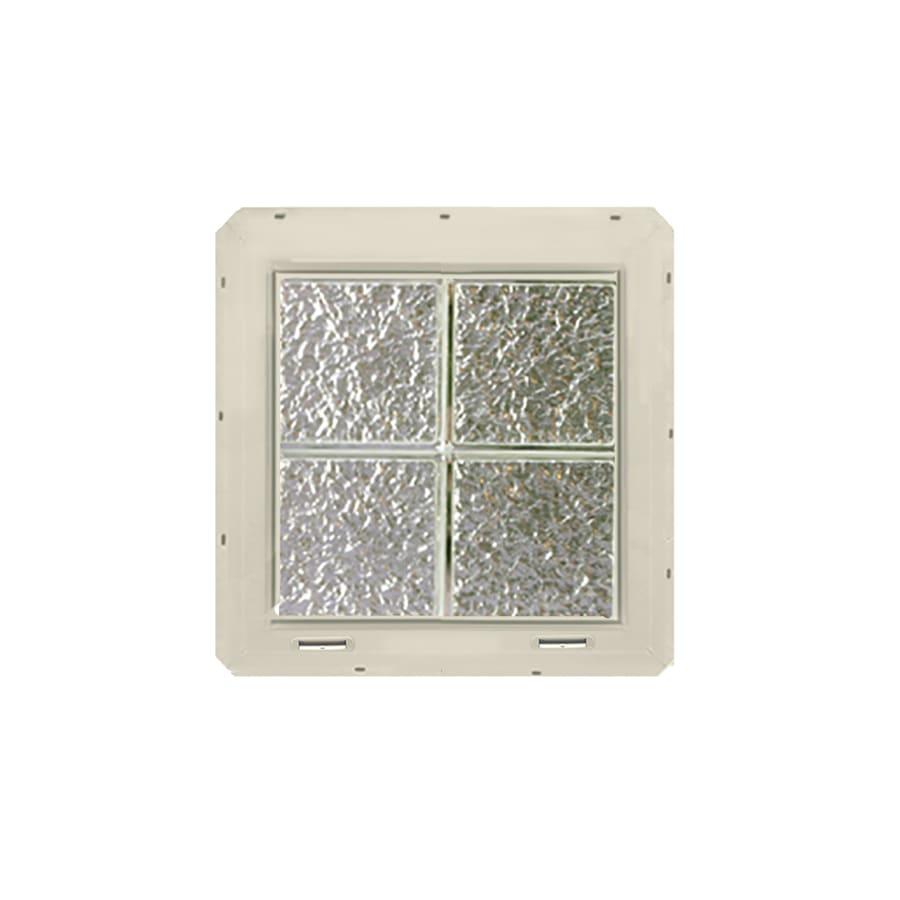 CrystaLok Ice Pattern Vinyl Glass Block Window (Rough Opening: 17.75-in x 17.75-in; Actual: 16.75-in x 16.75-in)