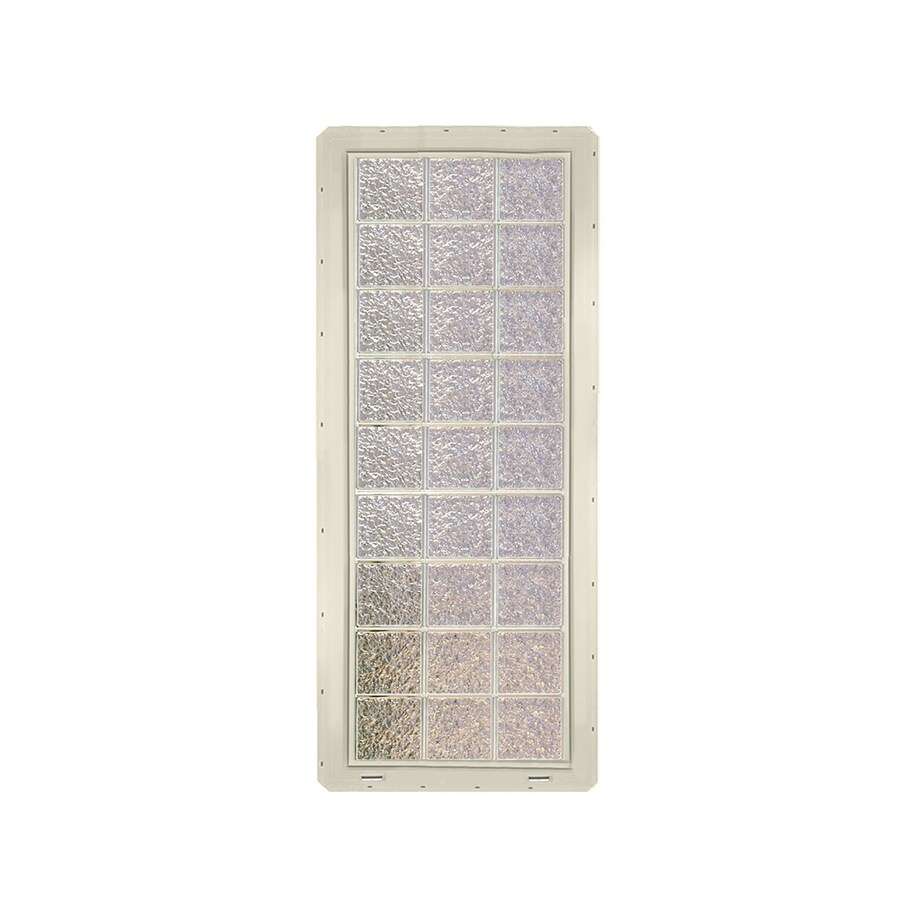 CrystaLok Ice Pattern Vinyl Glass Block Window (Rough Opening: 25.5-in x 72-in; Actual: 24.25-in x 69.25-in)