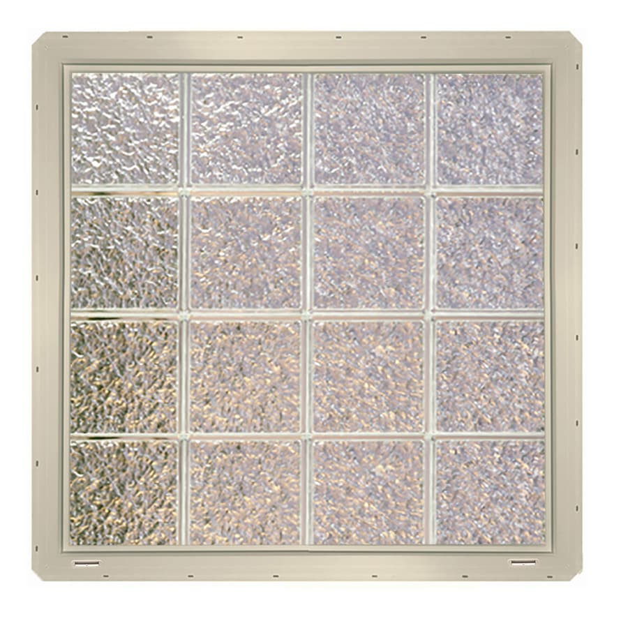CrystaLok Ice Pattern Vinyl Glass Block Window (Rough Opening: 33.25-in x 33.25-in; Actual: 31.75-in x 31.75-in)
