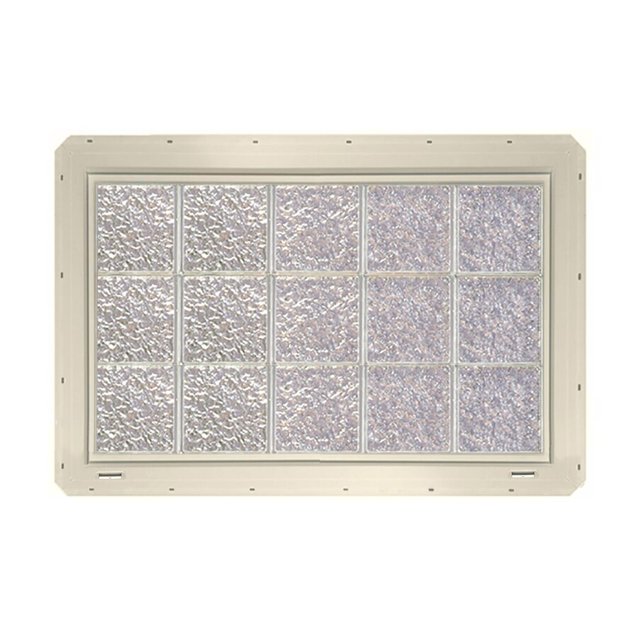 CrystaLok Ice Pattern Vinyl Glass Block Window (Rough Opening: 41-in x 25.5-in; Actual: 39.25-in x 24.25-in)