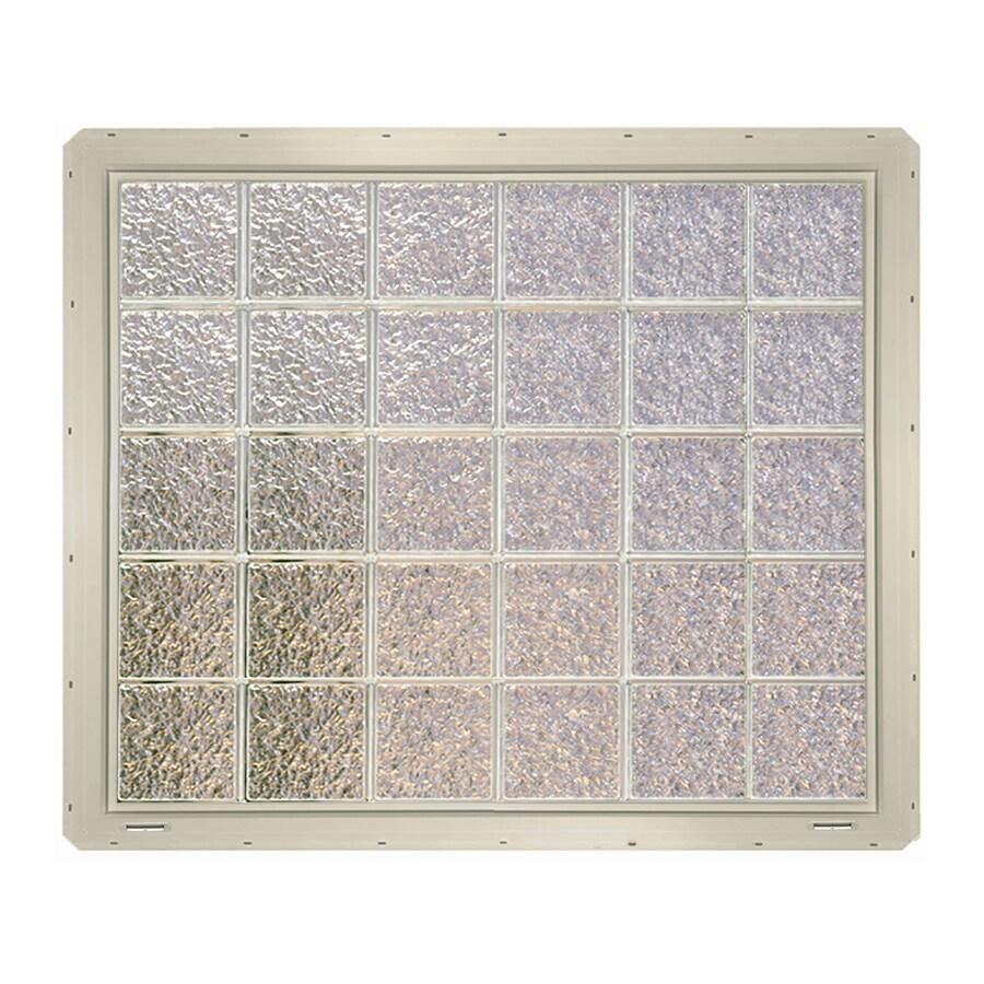 CrystaLok Ice Pattern Vinyl Glass Block Window (Rough Opening: 48.75-in x 41-in; Actual: 46.75-in x 39.25-in)
