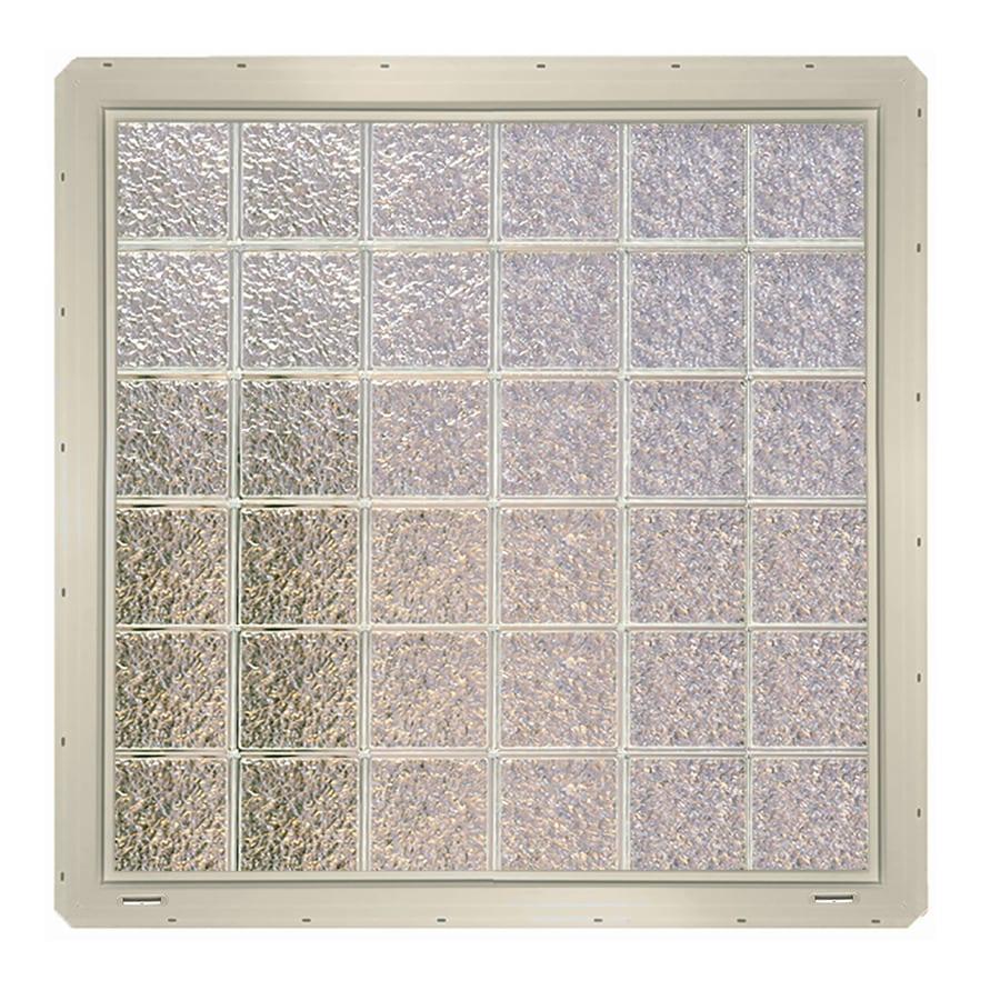 CrystaLok Ice Pattern Vinyl Glass Block Window (Rough Opening: 48.75-in x 48.75-in; Actual: 46.75-in x 46.75-in)
