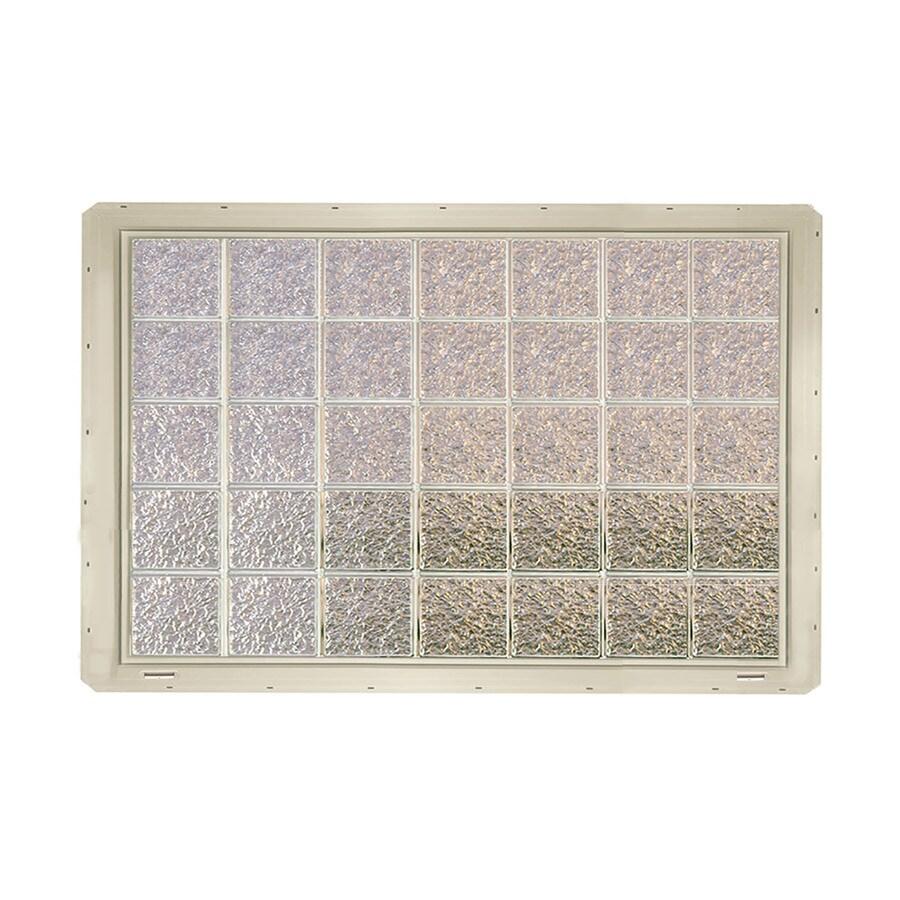 CrystaLok Ice Pattern Vinyl Glass Block Window (Rough Opening: 56.5-in x 41-in; Actual: 54.25-in x 39.25-in)