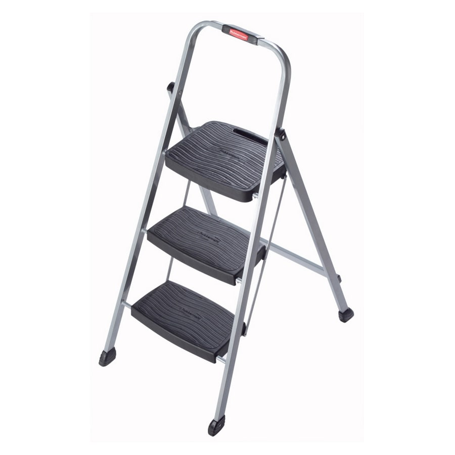 Rubbermaid 3-Step Gray Steel Step Stool
