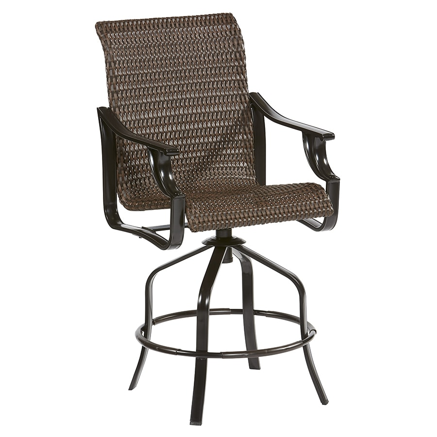 Allen Roth Safford 2 Count Dark Brown Wicker Swivel Patio Bar Stool Chair