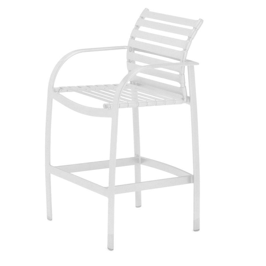 Sun Isle Preston White Aluminum Patio Barstool Chair