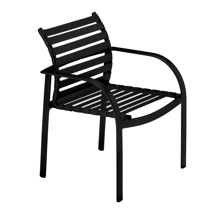 Sun Isle Preston 2-Count Black Aluminum Stackable Patio Dining Chairs