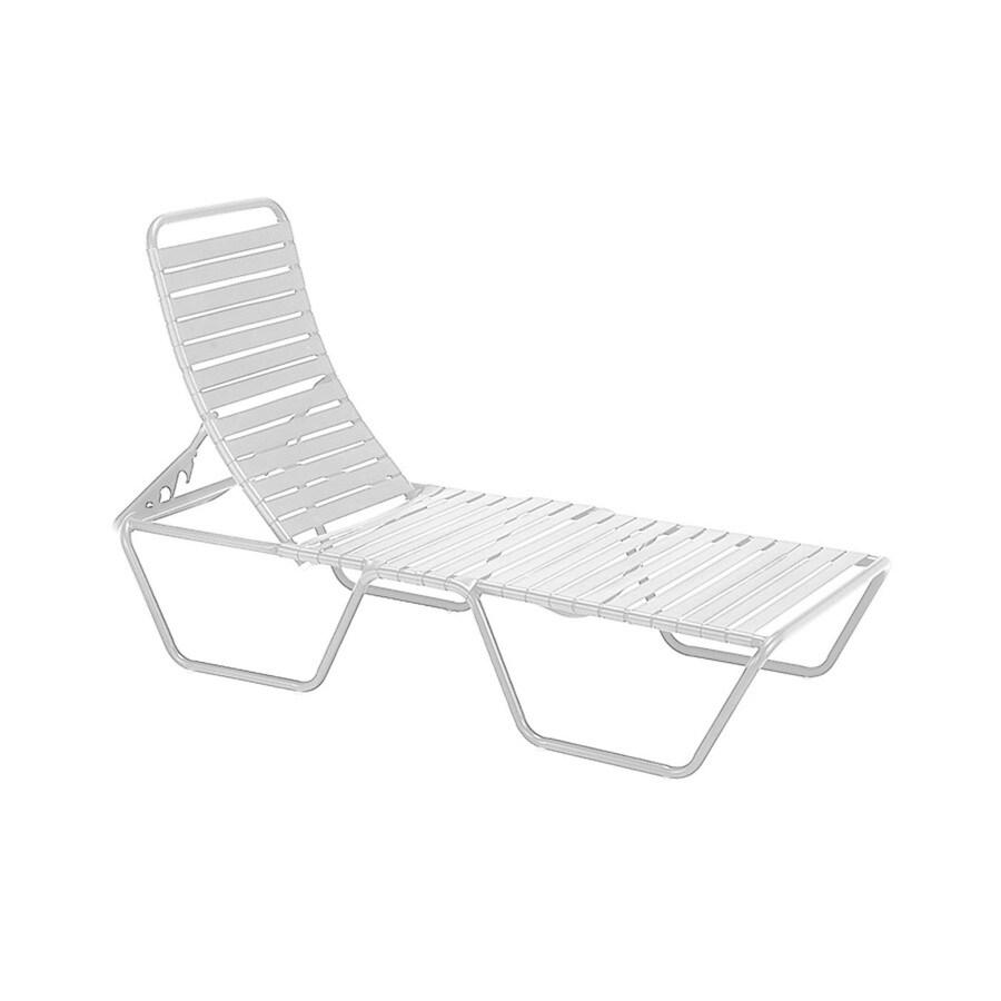 Sun Isle Parker White Aluminum Stackable Patio Chaise Lounge Chair