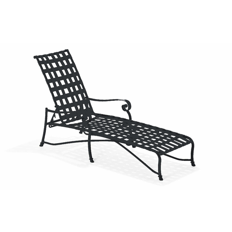 Shop sun isle caitlyn black aluminum patio chaise lounge for Black outdoor chaise lounge