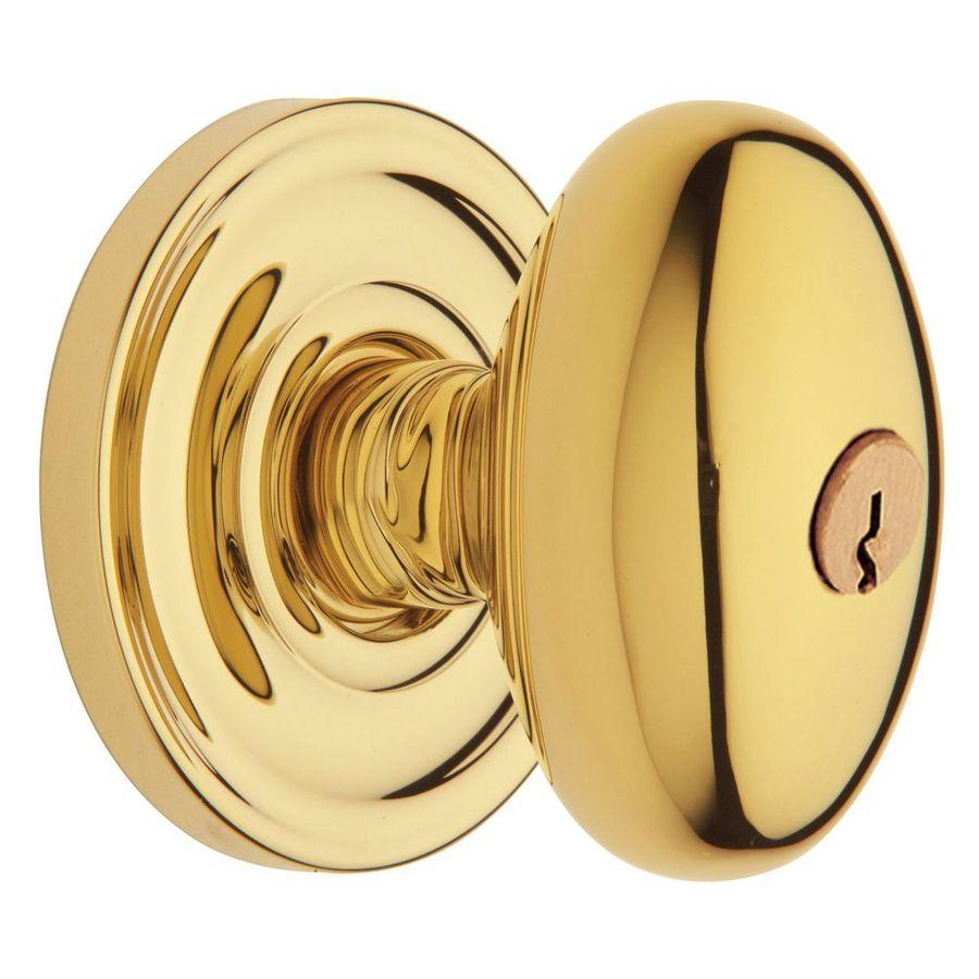 BALDWIN Estate Egg Lifetime Polished Brass Egg Keyed Entry Door Knob