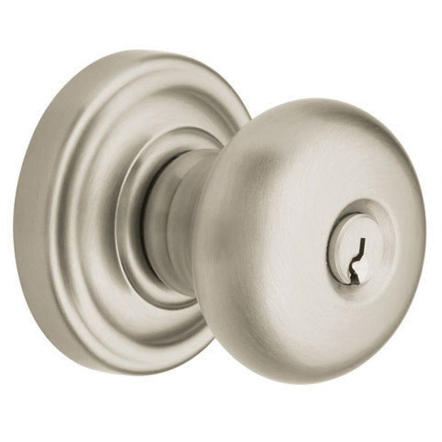 Shop BALDWIN Estate Classic Satin Nickel Round Keyed Entry Door Knob At Lowes