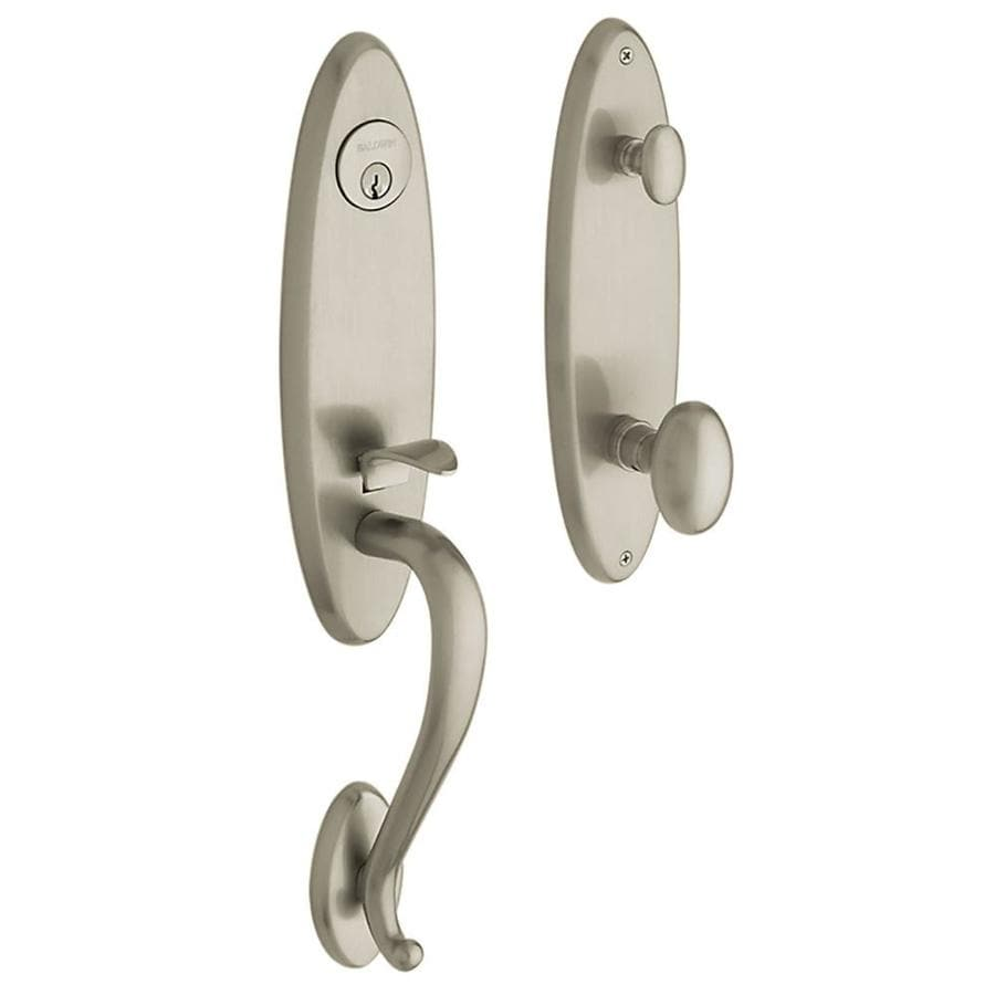BALDWIN Estate Blakely x Egg Knob Satin Nickel Emergency Egress-Lock Keyed Entry Door Handleset
