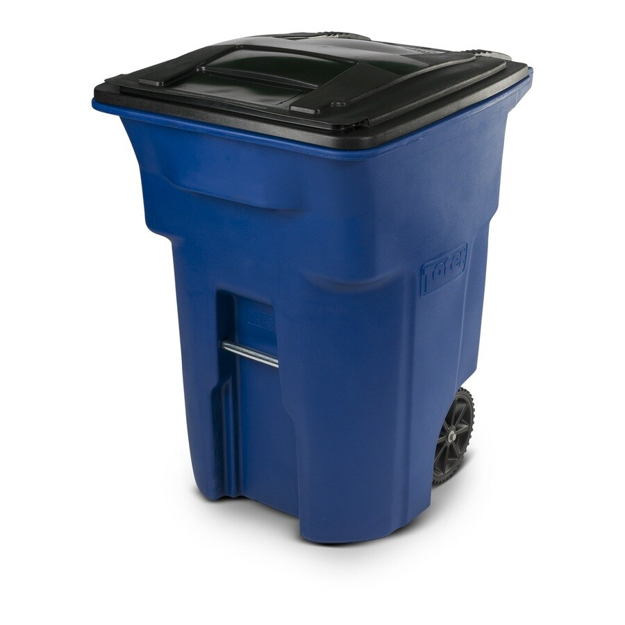 Shop Toter 96 Gallon Blue Plastic Wheeled Trash Can With