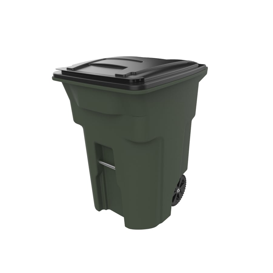 Toter 96-Gallon Standard Green Plastic Wheeled Trash Can with Lid