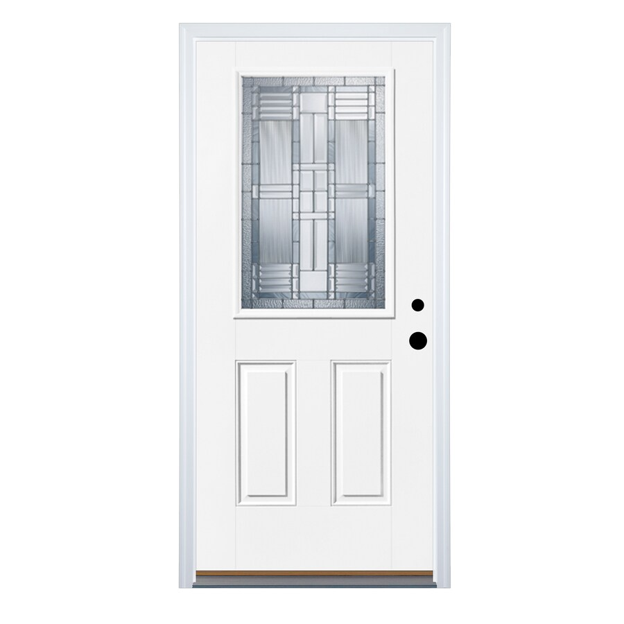 Therma-Tru Benchmark Doors DunThorpe 2-Panel Insulating Core Half Lite Left-Hand Inswing Fiberglass Unfinished Prehung Entry Door (Common: 36-in x 80-in; Actual: 37.5-in x 81.5-in)