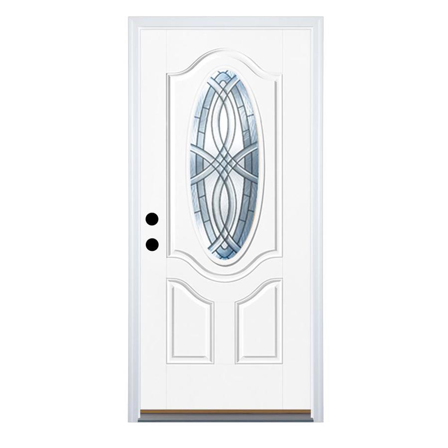 Therma-Tru Benchmark Doors TerraCourt 2-Panel Insulating Core Oval Lite Right-Hand Inswing Fiberglass Unfinished Prehung Entry Door (Common: 36-in x 80-in; Actual: 37.5-in x 81.5-in)