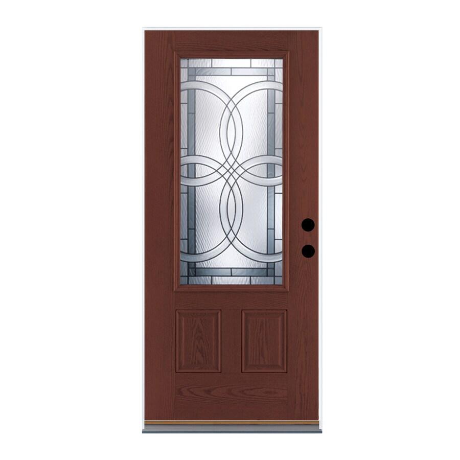 Therma-Tru Benchmark Doors TerraCourt 2-Panel Insulating Core 3/4 Lite Left-Hand Inswing Dark Mahogany Fiberglass Stained Prehung Entry Door (Common: 36-in x 80-in; Actual: 37.5-in x 81.5-in)