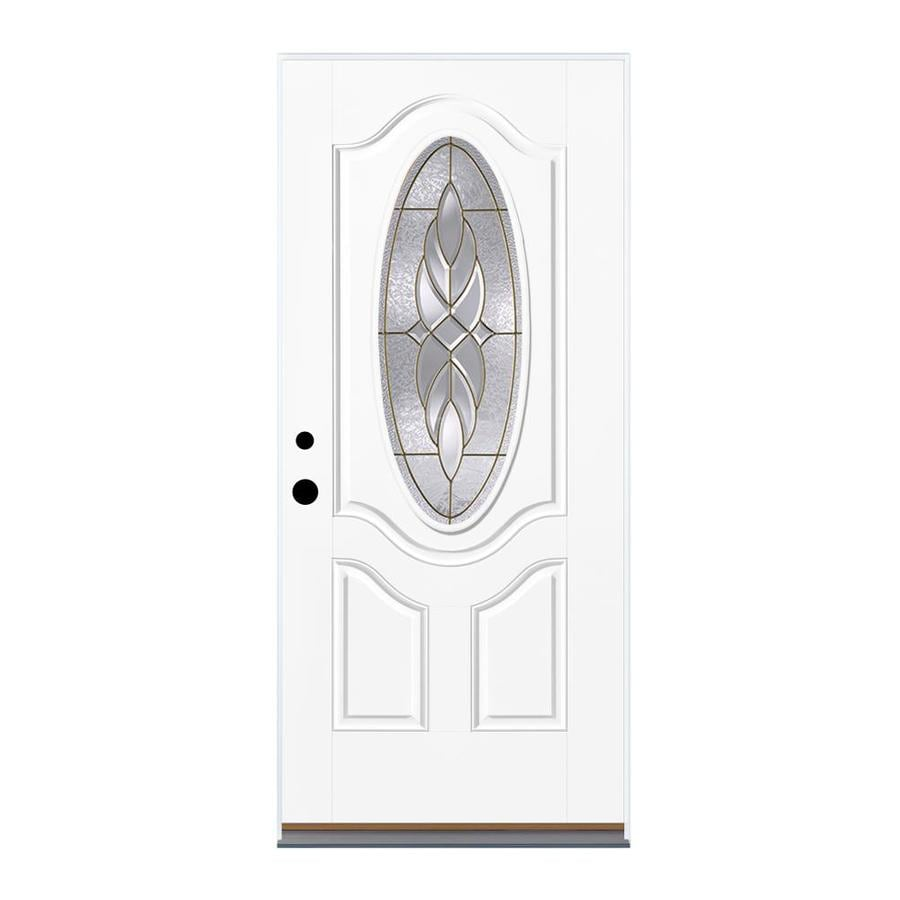 Therma-Tru Benchmark Doors Varissa 2-Panel Insulating Core Oval Lite Right-Hand Inswing Fiberglass Unfinished Prehung Entry Door (Common: 36-in x 80-in; Actual: 37.5-in x 81.5-in)