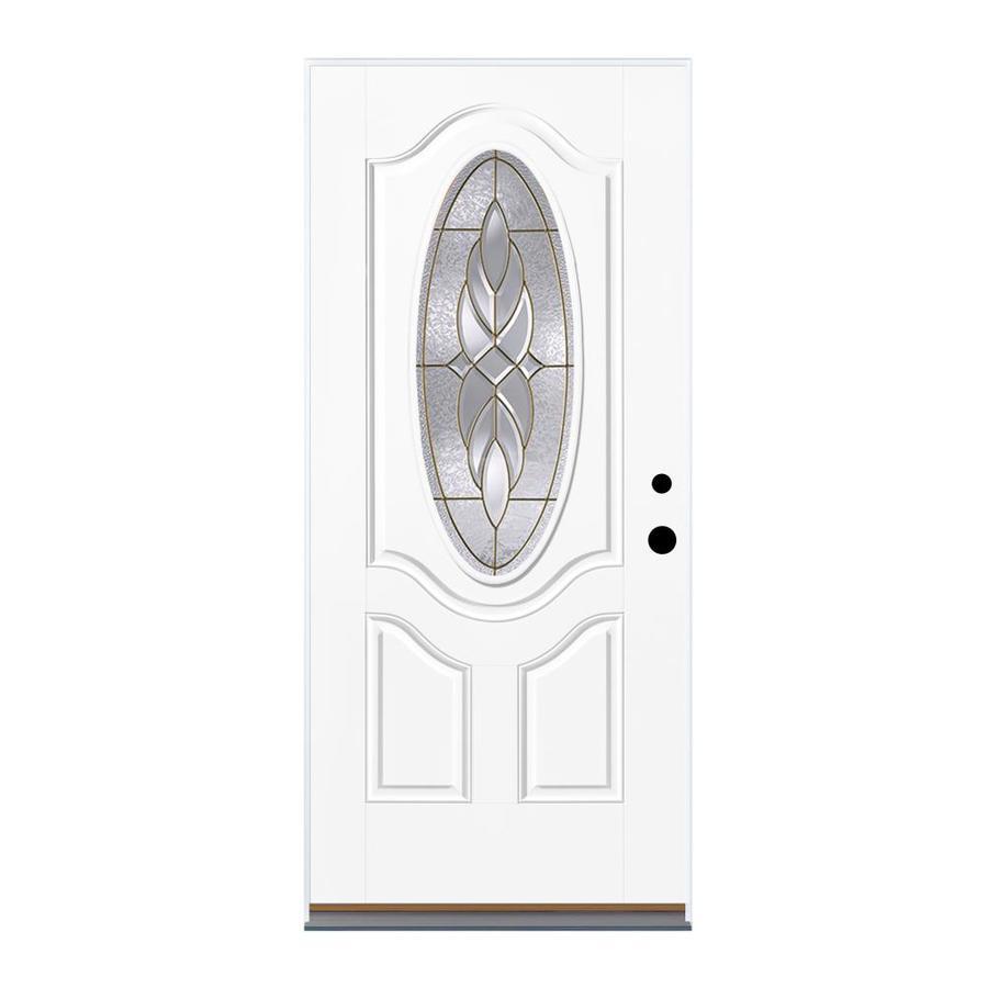 Therma-Tru Benchmark Doors Varissa 2-Panel Insulating Core Oval Lite Left-Hand Inswing Fiberglass Unfinished Prehung Entry Door (Common: 36-in x 80-in; Actual: 37.5-in x 81.5-in)