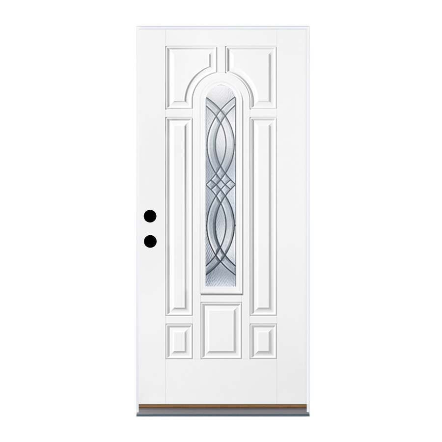 Therma-Tru Benchmark Doors TerraCourt 8-Panel Insulating Core Center Arch Lite Right-Hand Inswing Fiberglass Unfinished Prehung Entry Door (Common: 36-in x 80-in; Actual: 37.5-in x 81.5-in)