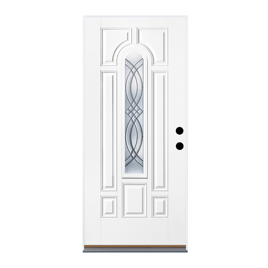 Therma-Tru Benchmark Doors TerraCourt 8-Panel Insulating Core Center Arch Lite Left-Hand Inswing Fiberglass Unfinished Prehung Entry Door (Common: 36-in x 80-in; Actual: 37.5-in x 81.5-in)