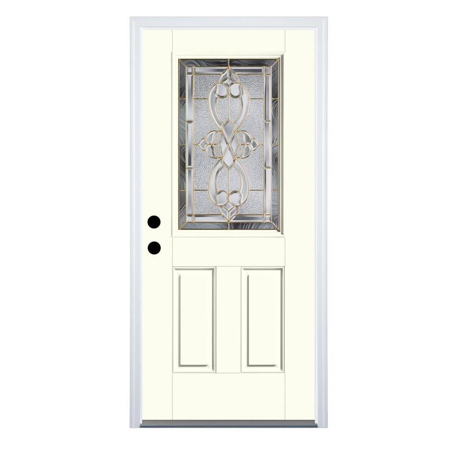 Therma-Tru Benchmark Doors Willowbrook 2-Panel Insulating Core Half Lite Right-Hand Inswing Light Oak Fiberglass Stained Prehung Entry Door (Common: 36-in x 80-in; Actual: 37.5-in x 81.5-in)