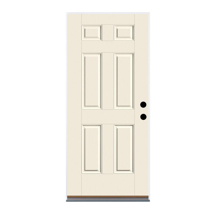 Therma-Tru Benchmark Doors 6-Panel Insulating Core Left-Hand Inswing White Fiberglass Primed Prehung Entry Door (Common: 36-in x 80-in; Actual: 37.5-in x 81.5-in)