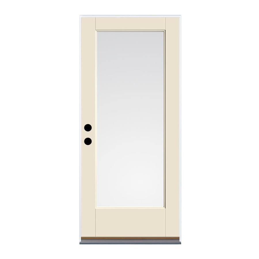 Therma-Tru Benchmark Doors 2-Panel Insulating Core 9-Lite Left-Hand Inswing Fiberglass Unfinished Prehung Entry Door (Common: 32-in x 80-in; Actual: 33.5-in x 81.5-in)