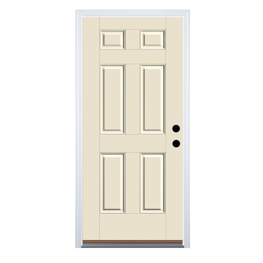 Therma-Tru Benchmark Doors 6-Panel Insulating Core Left-Hand Inswing White Fiberglass Primed Prehung Entry Door (Common: 32-in x 80-in; Actual: 33.5-in x 81.5-in)
