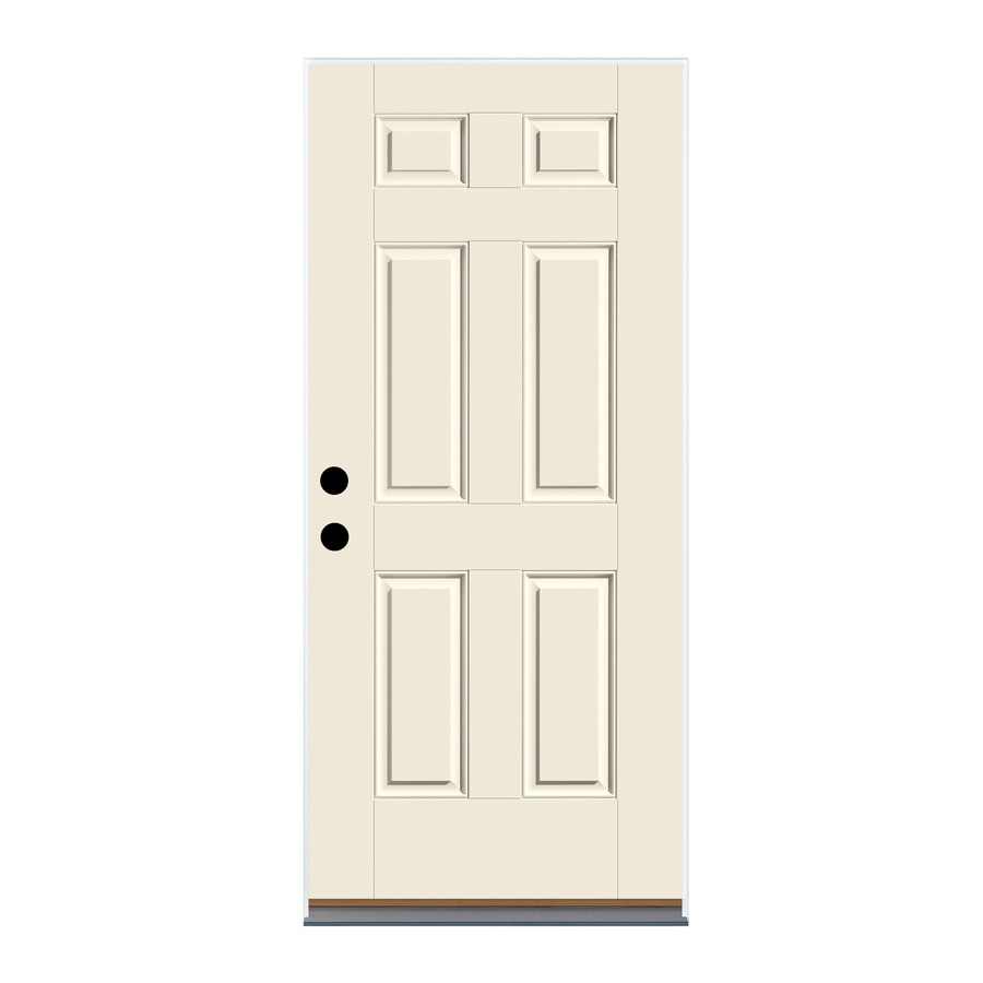 Therma-Tru Benchmark Doors 6-Panel Insulating Core Left-Hand Outswing White Fiberglass Primed Prehung Entry Door (Common: 36-in x 80-in; Actual: 37.5-in x 80.5-in)