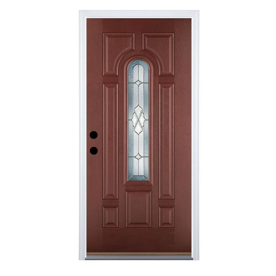 Therma-Tru Benchmark Doors Willowbrook 8-Panel Insulating Core Center Arch Lite Right-Hand Inswing Dark Mahogany Fiberglass Stained Prehung Entry Door (Common: 36-in x 80-in; Actual: 37.5-in x 81.5-in)